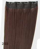 "Dark brown #2t33,22""Silky Straight Remy Clip in blended human hair extensions ,5clips a set,free shipping"