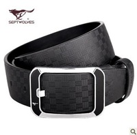 SEPTWOLVES Classic Royal Fashion Man's Black Genuine Leather Belt Buckle Man Mens Real Leather Belts NO:4300 Free Shipping
