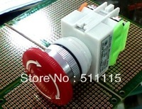 Mushroom head emergency stop button switch with lock LAY37-Y090-11ZS