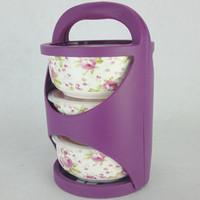 Purple portable fresh bone porcelain bowl with cover tableware ceramic bowl microwave sealed bowl three bento lunch box