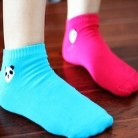 (Min mix order is 10$) E8033 socks candy color socks cartoon panda head portrait sock slippers