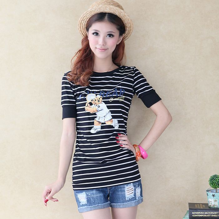 Plus size 2 q1 - cartoon print tennis ball bear slit neckline small stripe short-sleeve tee(China (Mainland))