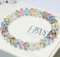 Freeshipping - New Arrival 6 colors Plaid pavans multicolour sparkling crystal bracelet female fashion beads bracelet