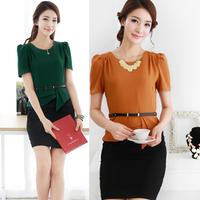 women's slim hip female orange green ol elegant chiffon one-piece dress