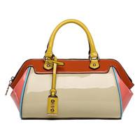 2014 new women fashion candy color block japanned patent leather handbag cross-body bag tote bag shoulder bag