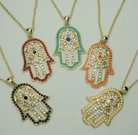 New arrive 2013 full crystal rhinestone&colorful acrylic beads Hamasa necklace,fashion necklace ,Min order $15