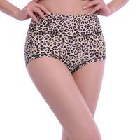 Plus size abdomen drawing butt-lifting leopard print briefs ab high waist panties female modal