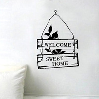 Free Shipping Welcome Sweet Home Sign Bedroom Living Room Decor Art Vinyl Wall Sticker Home Door Window Decoration Decal W873