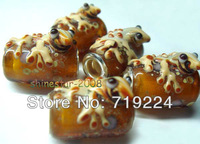 925 silver core 4.5mm hole Animal lizard Design glass bead charms fit European style Bracelets ZZXY15