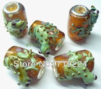 925 silver core 4.5mm hole Animal lizard Design glass bead charms fit European style Bracelets ZZXY13