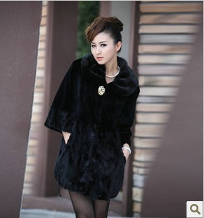 2013 fur coat long slim waist design marten overcoat Women mink fur hair