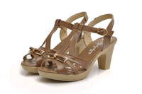 2013 new high-heeled leather sandals with thick lady free shipping