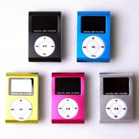 2pcs/lot  MP3 music  player with LCD,clip mp3 player with retail package USB + Earphone  5 colors Free Shipping
