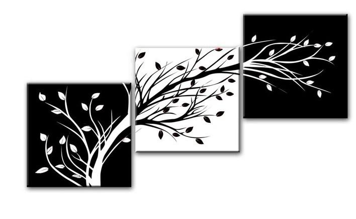 Acheter 3 piece wall art abstrait moderne pas cher grand flor - Toile noir et blanc pas cher ...
