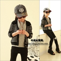 Free Shipping 2013 Spring Girls Clothing Sheep Trophonema Stripe Cardigan Sweater Outerwear