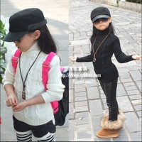 Free Shipping Girls Clothing Child Autumn and Winter 2013 Turtleneck Slim Hip Basic Knitted Sweater Shirt Black and White