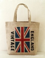 free shipping jute bag folding eco-friendly brief bag flag pattern one shoulder handbag shopping bag