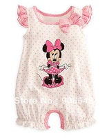 2013 child cute pink dot lace Romper  cotton one-pieces girl Minnie romper