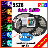 10pcs /lot  RGB led strip SMD 3528  Waterproof 300 Led Strip Light + 24 Keys IR Remote   freeshipping