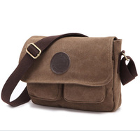 FREE SHIPPING Travel Messenger Vintage Canvas Bag Flp Pocket Casual Shoulder Two Bags Outside