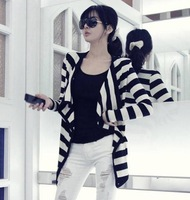 2013 Unique design new hot plus size stylish and comfortable Wild lace chiffon jacket coat Striped cardigan