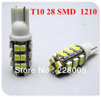 Wholesale 50pcs/lot 194 168 T10 28 SMD 3020 1206 Led Car Lighting T10 28SMD 3528 1210 LED Signal Indicator Lights Whtie 12V