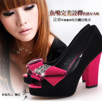 2013 new color block rhinestone open toe women's shoes spring platform thick heel shoes color block decoration bow