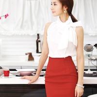 Free Shipping Work wear women summer white collar set gentlewomen elegant work wear OL outfit dress skirt