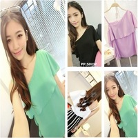 Women's 2013 summer sexy strapless ruffle short-sleeve ladies basic elegant chiffon shirt