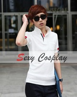 Pocket Decor Cotton Collared Short Sleeve Men Polo Shirt