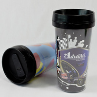 Ps plastic double layer cup anti-hot sports bottle cup glass readily cup diy pattern