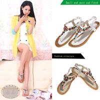 [(My God)] Fashion flat heel flat flower beads bohemia female flip-flop sandals