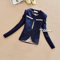 2013 women's outerwear vintage formal o-neck slim woolen blazer suit female