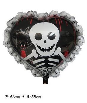 50 pcs Crânio balões de hélio de abastecimento festa de Halloween brinquedos infláveis para jogos Malícia , balões 58X58cm Mylar