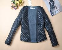2012 autumn and winter vintage epaulette mosaic fashion o-neck slim cotton-padded woolen short jacket women
