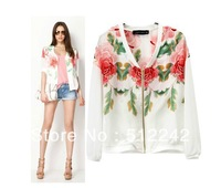 2014 spring autumn fashion women floral print causal full sleeve thin white jacket tops outwear clothes free shipping xhf