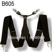 BD605 Men's Suspender Women Braces Adult Unisex Elasticity Adjustable Size High Quality Metal Clip-on Solid Color Black