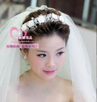 Handmade crystal ceramic rose bride hair accessory the bride accessories formal dress wedding accessories hair band garishness