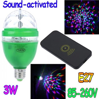 3W E27 85-260V Full Color LED RGB Rotating Lamp disco DJ party Sound-activated or Remote control stage light Bulb Free Shipping