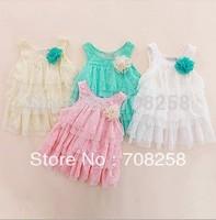 4pcs/lot- baby girl beautiful dress , layered lace white pink one piece children dress for wholesale 283