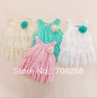 4pcs/lot- baby girl beautiful dress , layered lace white pink one piece children dress for wholesale 283