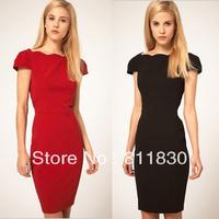 Dresses new fashion 2014 summer womens dresses women's short sleeve high waist knee length dress novelty dresses european dress