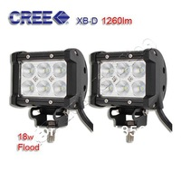 "2x 4Inch 4"" 18W 1260LM CREE Led Work Light Bar Flood Off-road ATV Boat 4WD Lamp Wholesale CREE LED Offroad Lamp FreeShipping"