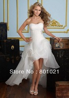 A line Organza Strapless Lace up Short Length Sleeveless Beach Wedding Dress