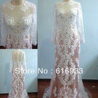 Free Shipping Hot Sale Real Photos Floor Length Lace 2013 Designer Elegant Long Sleeve Mermaid Evening Dress Prom dresses EVG006