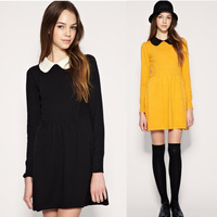 2013 New Fashion Spring & Autumn Womens Cute Peter Pan Collar Dress For Women Ladies Casual Full Sleeve dresses Black 3colors