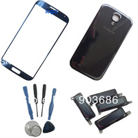 FOR Samsung I9500 Galaxy S 4 IV DIY parts outer front touch glass& back rear battery cover + home button with free tool  tool