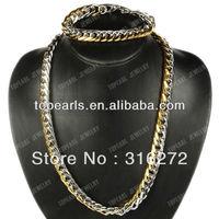 Free Shipping! Punk 304 Stainless Steel Necklace & Bracelet Jewelry Set SSJ27