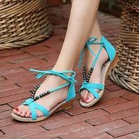 Free Shipping Wholesale 2013 summer bohemia beaded black bandage female sandals flat heel sandals flat sandals