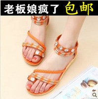 Free Shipping Wholesale New arrival bohemia women's shoes sweet shoes flat flip-flop female flat heel sandals